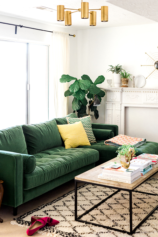 trend alert: the green velvet sofa - Mint Modern Home